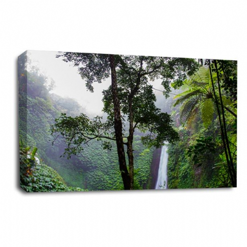 Waterfall Canvas Wall Art Picture Forest Wood White Grey Print